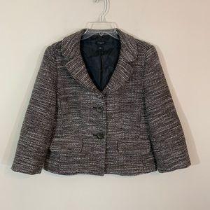 Ann Taylor • Gray Tweed Lined Blazer Size 12